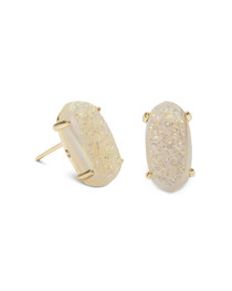 Betty Earrings - Gold - Iridescent Drusy