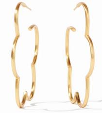 Medium 1.75  Inches Gardenia Hoop - Gold