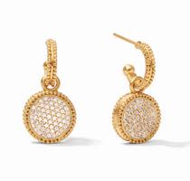 Fleur-de-Lis Hoop & Charm Earring - Pave Cubic Zirconia