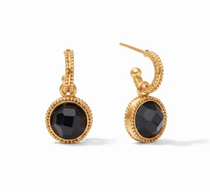 Fleur-de-Lis Hoop & Charm Earring - Gold Obsidian Black