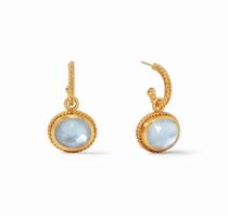 Calypso Hoop & Charm Earring - Gold Iridescent Chalcedony Blue