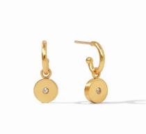 Poppy Hoop & Charm Earring - Gold Cz