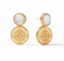 Fleur-de-Lis Earring - Gold Iridescent Clear Crystal
