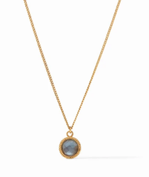 Fleur-de-Lis Solitaire Necklace - Gold Iridescent Slate Blue Reversible