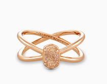 Emilie Double Band Ring - Rose Gold Sand Drusy