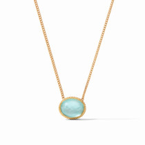 Verona Solitaire Necklace - Iridescent Bahamian Blue