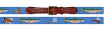 Needlepoint Belt - Trout and Fly Light Blue