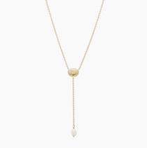 Seashell Charm Lariat- Gold/Pearl