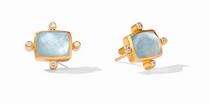 Clara Stud - Gold Iridescent Chalcedony Blue