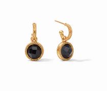 Fleur-de-Lis Hoop & Charm Earring-Gold Pave Obsidian Black