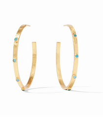 Crescent Stone Hoop- Gold Pacific Blue  L