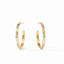 Crescent Stone Hoop- Gold Pacific Blue - M