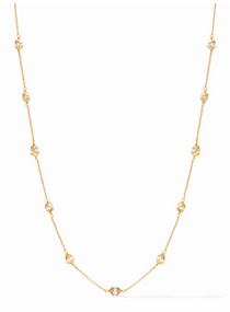 Penelope Delicate Station Necklace - Gold Pearl