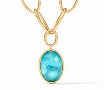 Fleur-de-Lis Statement Necklace- Gold Iridescent Bahamian Blue