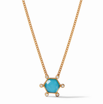 Cosmo Solitaire Necklace Gold Iridescent - Pacific Blue