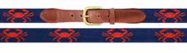 Needlepoint Belt - Coral Crab Classic Navy