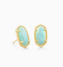 Ellie Earring- Gold Matte Iridescent Mint