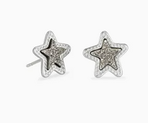 Jae Star Stud Earring- Rhodium Platinum Drusy