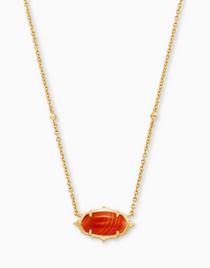 Baroque Elisa Pendant Necklace- Gold Orange Banded Agate