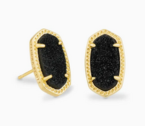 Ellie Earring- Gold Black Drusy