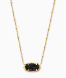 Elisa Satellite Short Necklace- Gold Black Drusy