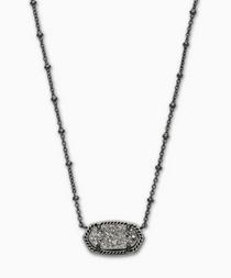 Elisa Satellite Short Necklace- Gunmetal Platinum Drusy