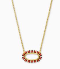 Elisa Open Frame Necklace- Gold Burgundy Crystal