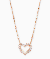 Ari Heart Crystal Pendant Necklace- Rose Gold White Crystal