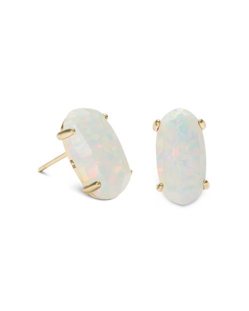 Betty Earrings - Gold - White Kyocera Opal