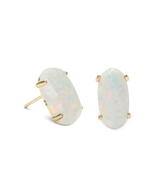 Betty Earrings - Gold - White Kyocera Opal