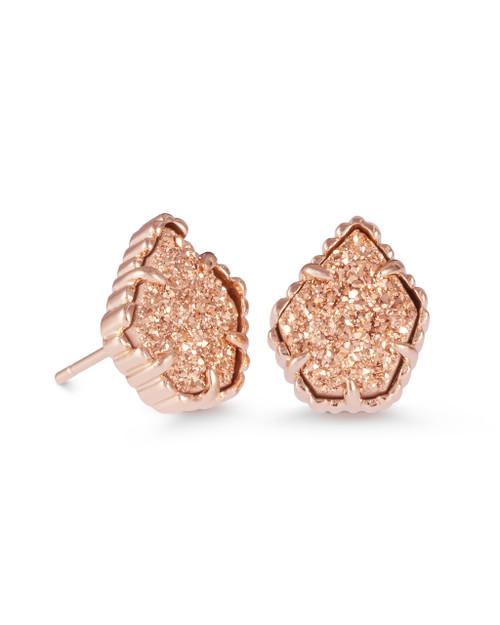 Tessa Earrings - Rose Gold - Rose Gold Drusy