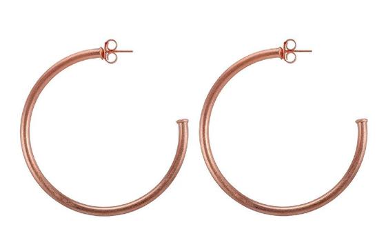 BR1954RG Everybody's Favorite Hoop Earrings Brushed Rose Gold Plated