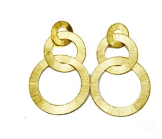 BRD845-Tri Circle Flat Brushed Earrings