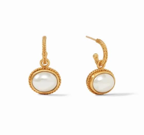Calypso Hoop & Charm Earring - Gold Pearl