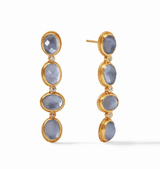 Calypso Statement Earring - Gold Iridescent Slate Blue