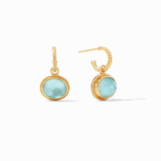 Calypso Hoop & Charm Earring - Iridescent Bahamian Blue