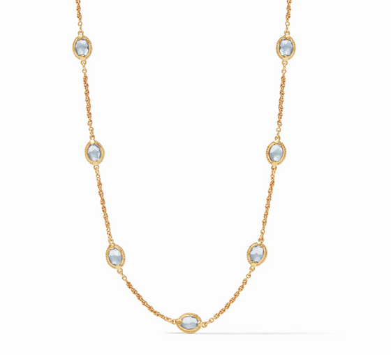 Calypso Demi Delicate Station Necklace - Gold Chalcedony Blue