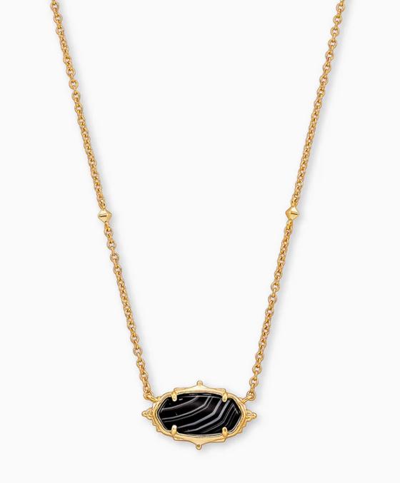 Baroque Elisa Pendant Necklace- Gold Black Banded Agate
