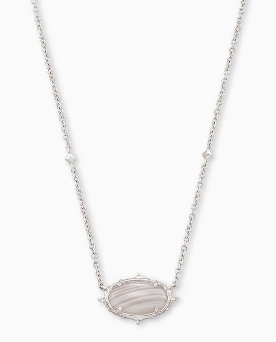 Baroque Elisa Pendant Necklace- Silver Gray Banded Agate