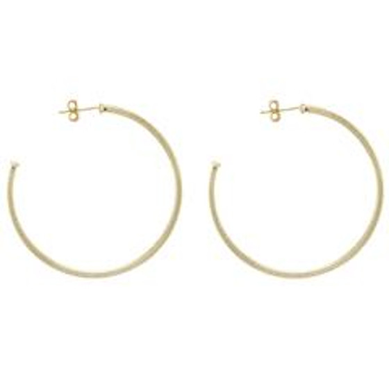 BR1207 Perfect Hoop Earrings - 18K Brushed Gold Plated