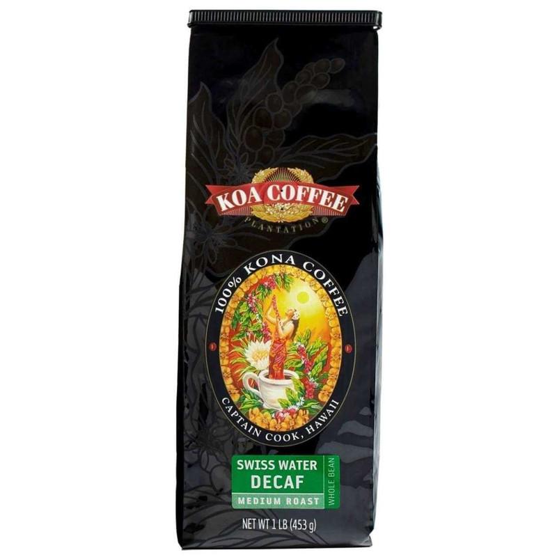 Koa Coffee Swiss Water Decaf Whole Bean 100percent Kona Coffee