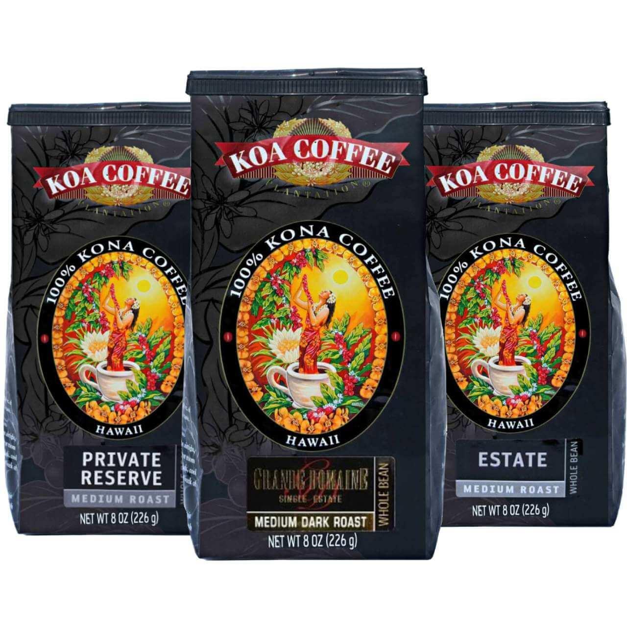 Medium Roast Whole Bean Kona Coffee Tri-Pack