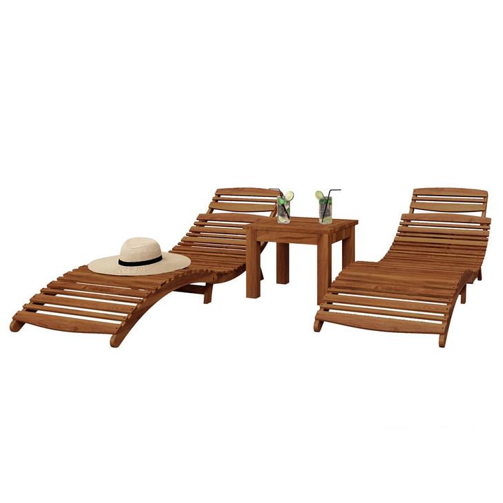 Wave Timber Outdoor Foldable Sunbed & Side Table Set