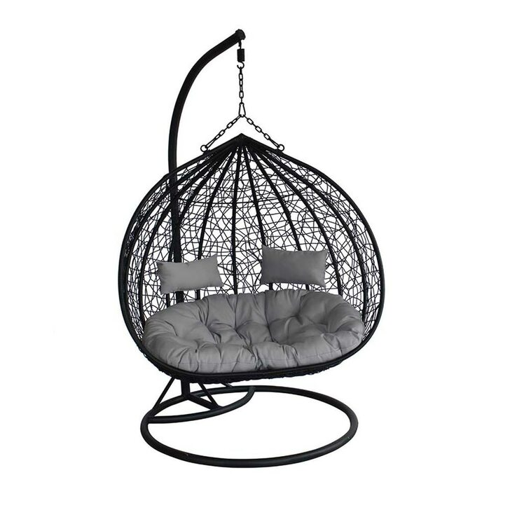 Shelly Hanging Egg Chair - Black with Grey Cushion