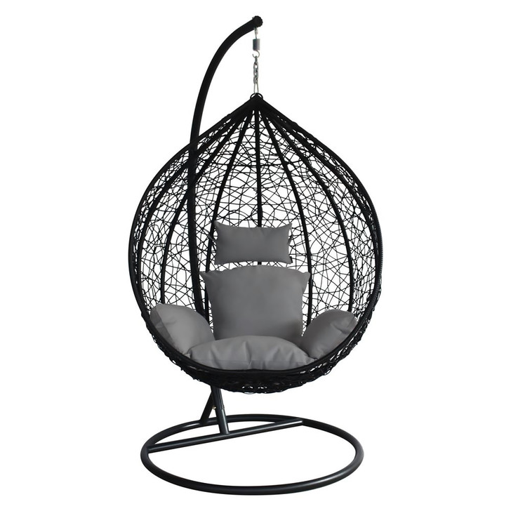 Barbados Hanging Egg Chair - Black with Grey Cushion