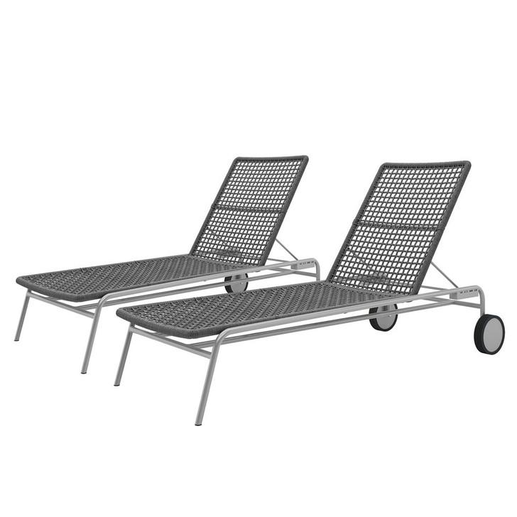 Cabrits Outdoor Rope Sunbed Lounge (Set of 2) - Dark Grey