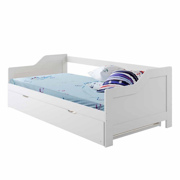 Alexis Solid Pine Timber Single Day Bed with Trundle - White