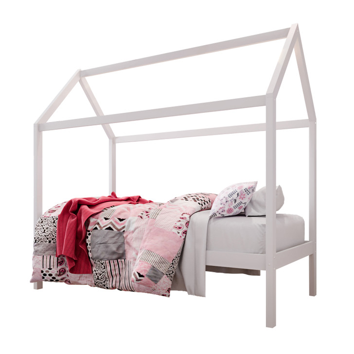 Doris Solid Pine Timber Single House Bed For Kids