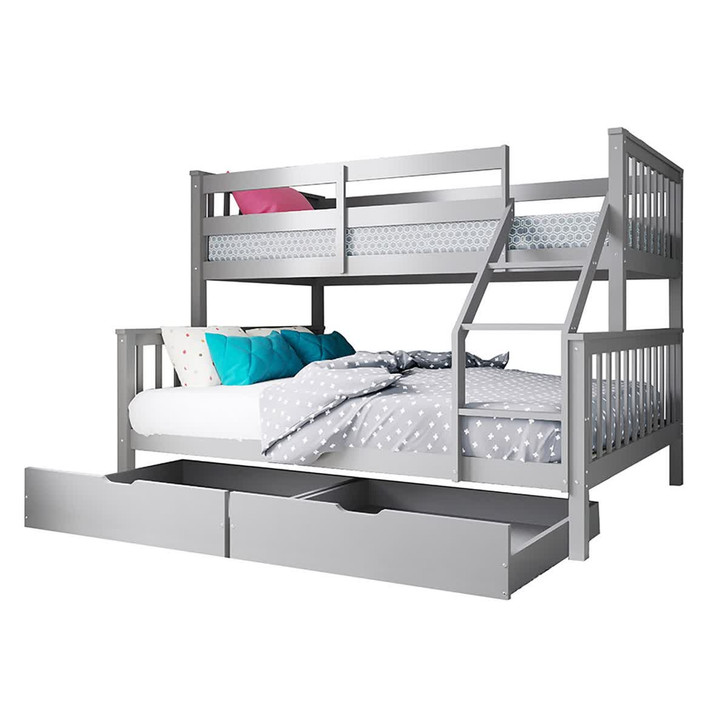 Nero Timber Triple Bunk Bed with Storage Drawers - Grey