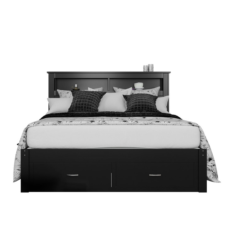 Porcia Double Bed with Storage Shelves & Drawers - Black
